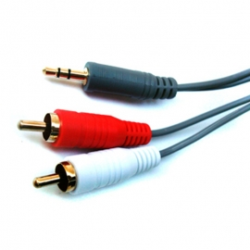 Plug 3,5 macho a 2 RCA macho – 8 metros