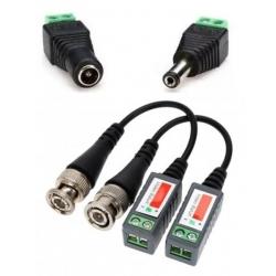 PACK Balun pasivo con tornillo + conectores de alimentación Macho y Hembra