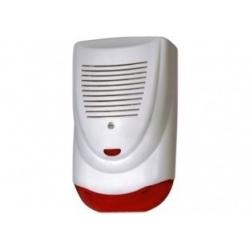 Sirena de exterior potente con carcaza plastica refuerzo interior metálico y luz stroboscopica.
