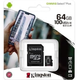 Micro SD 64GB KINGSTON CANVAS SELECT PLUS 100Mb/S