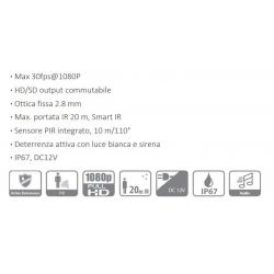 Bullet Dahua 1080p 2mpx con PIR + SIRENA HAC-ME-1200DP-LED